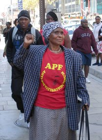 Lindiwe Mazibuko (applicant #1) celebrating outside the Johannesburg High Court